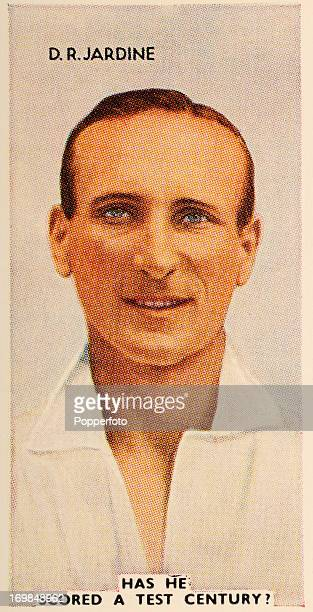 A vintage cigarette card featuring Douglas Robert Jardine Surrey and England cricketer circa 1935