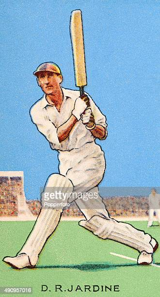 A vintage cigarette card featuring England cricketer Douglas Jardine circa 1933