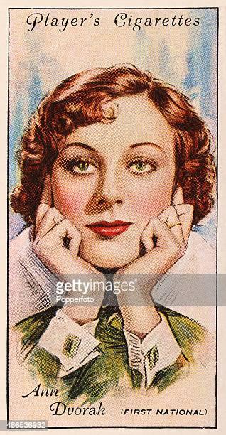 A vintage cigarette card featuring film star Ann Dvorak printed in London circa 1934