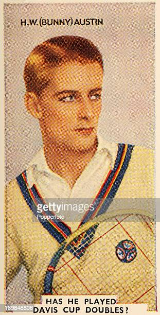 A vintage cigarette card featuring Henry Wilfred 'Bunny' Austin British tennis champion circa 1935