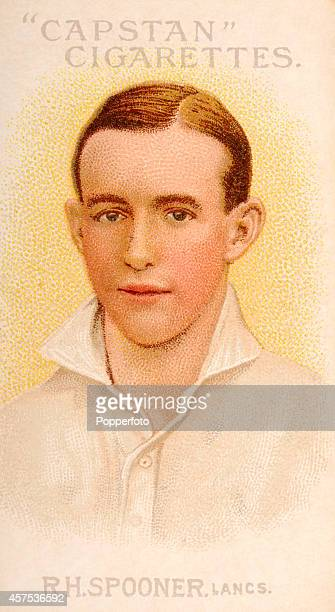A vintage cigarette card featuring Lancashire cricketer Reggie Spooner circa 1907