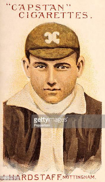 A vintage cigarette card featuring Nottinghamshire cricketer Joe Hardstaff Junior circa 1907