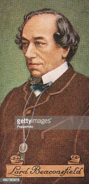 A vintage cigarette card featuring Prime Minister Benjamin Disraeli Earl of Beaconsfield printed in London circa 1935