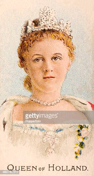 A vintage cigarette card featuring Queen Wilhelmina of Holland printed in London circa 1901
