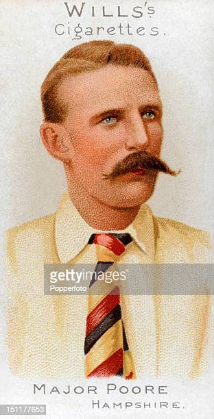 Vintage cigarette card featuring Robert Montagu Poore who played cricket for Hampshire and South Africa, circa 1901. In later life he achieved the...