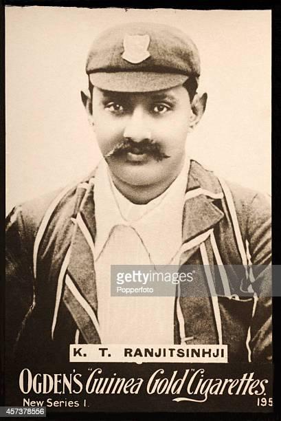 A vintage cigarette card featuring Sussex and England cricketer Kumar Shri Ranjitsinhji the Maharaja of Nawanagar circa 1898