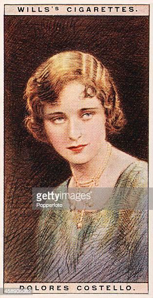 A vintage cigarette card featuring the cinema star Dolores Costello circa 1928