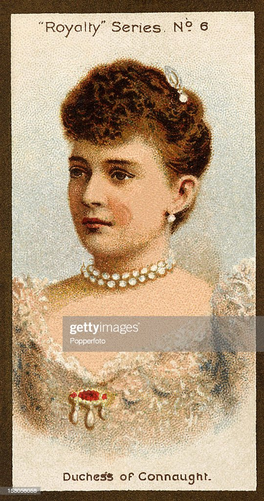 A vintage cigarette card featuring The Duchess of Connaught, published in 1903.