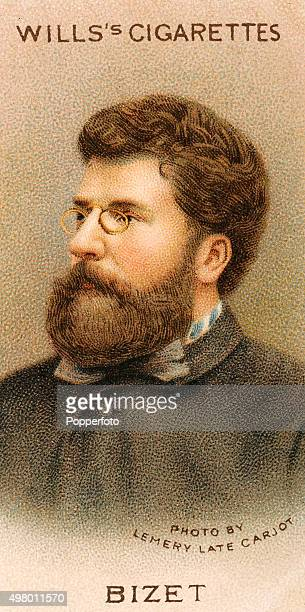 A vintage cigarette card featuring the French composer Georges Bizet published in London circa 1912