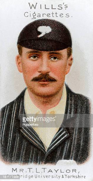 Vintage cigarette card featuring Tom Launcelot Taylor who played cricket for Cambridge University and Yorkshire, circa 1901.