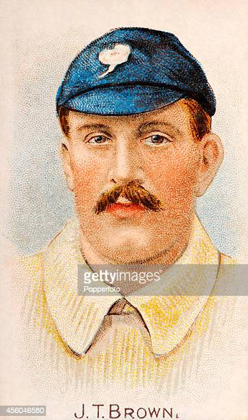 A vintage cigarette card featuring Yorkshire and England cricketer John Thomas Brown circa 1904