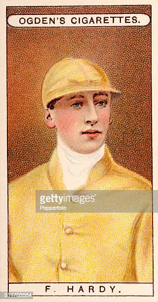 A vintage cigarette card illustration featuring the jockey F Hardy in the colours of the Duke of Devonshire circa 1904