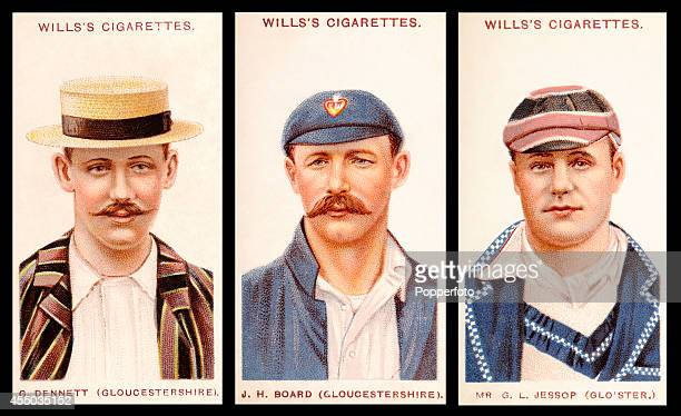 Vintage cigarette cards featuring left to right Gloucestershire cricketers George Dennett Jack Board and Gilbert Jessop circa 1908