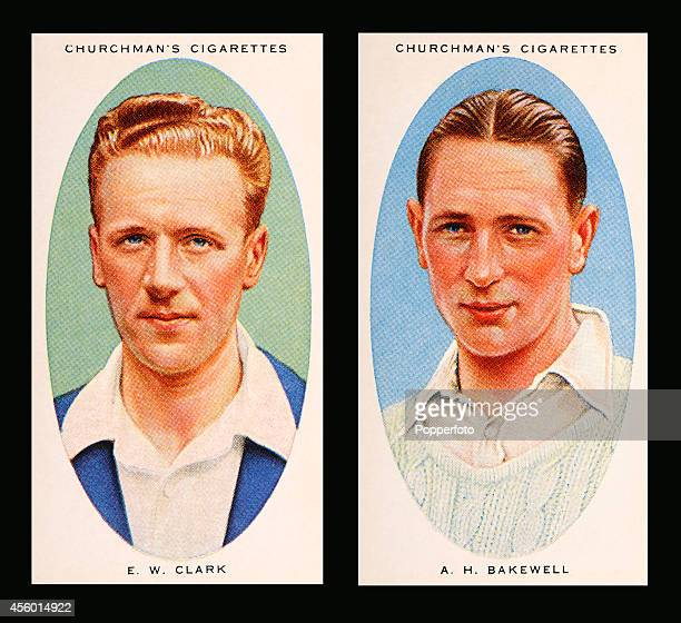 Vintage cigarette cards featuring left to right Northamptonshire cricketers Nobby Clark and Fred Bakewell circa 1936