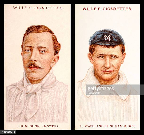 Vintage cigarette cards featuring left to right Nottinghamshire cricketers John Gunn and Thomas Wass circa 1908