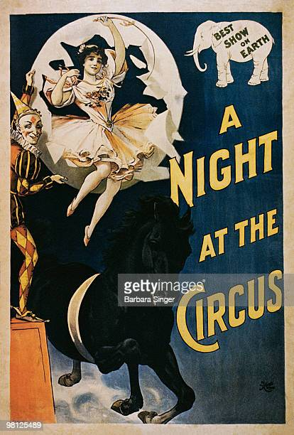 Vintage circus poster of woman riding on horse