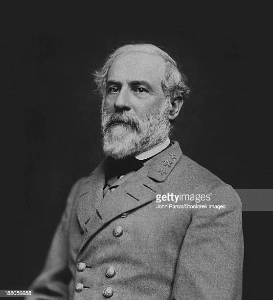 vintage civil war photo of confederate civil war general robert e. lee. - robert e. lee stock pictures, royalty-free photos & images