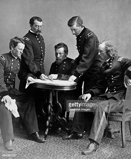 Vintage Civil War photograph of General Philip Sheridan and his staff.