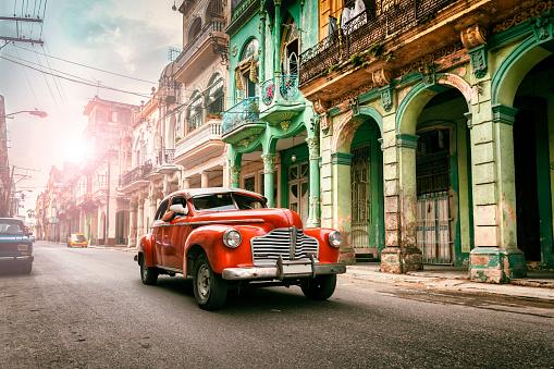 Vintage classic american oldtimer car in old town of Havana Cuba - gettyimageskorea