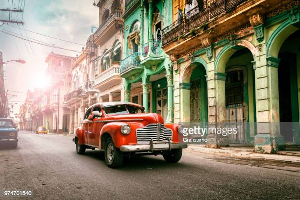 vintage classic american oldtimer car in old town of havana cuba - cuba stock pictures, royalty-free photos & images