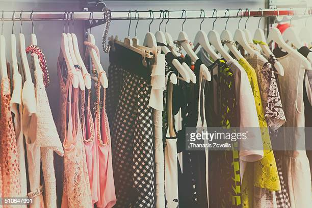 Vintage clothing rail in a shop