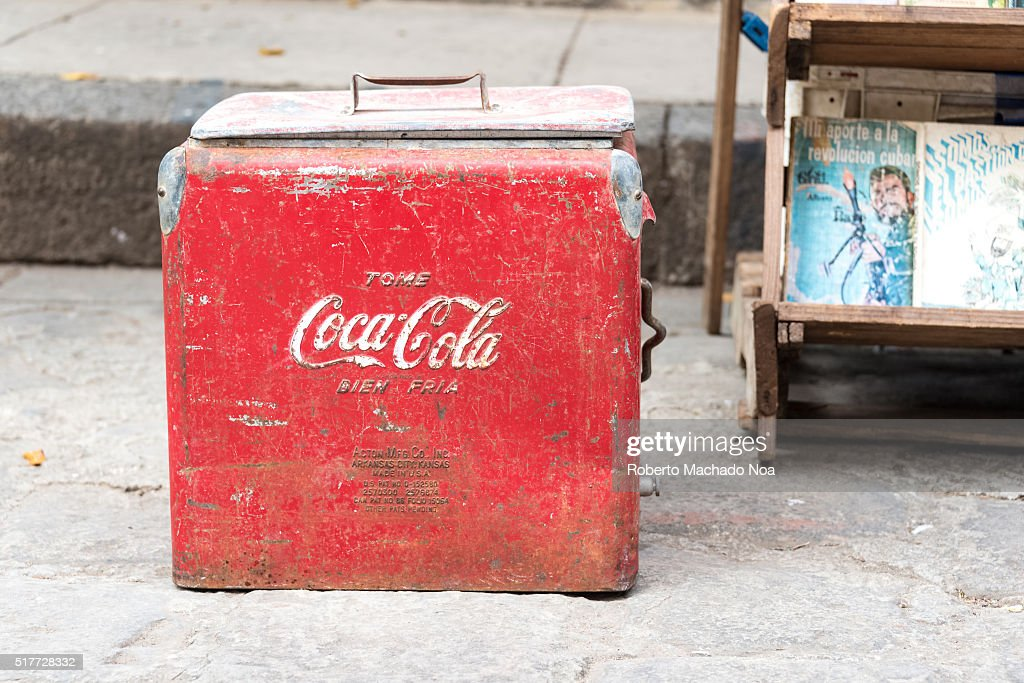 Vintage Coca Cola cooler being sold at antiquities stand  News Photo