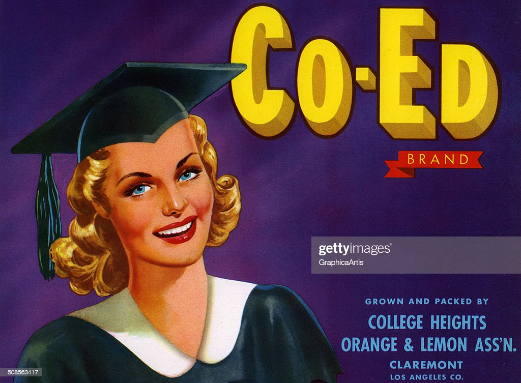 Vintage 'Co-Ed Brand' fruit crate label with young woman in cap and gown, color lithograph, 1940s.