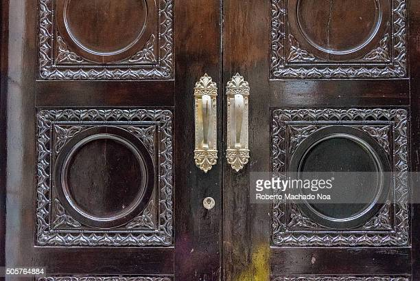 Vintage colonial door details in Old HavanaCuba The village is a Unesco World Heritage Site featuring a treasure of Hispanic architecture