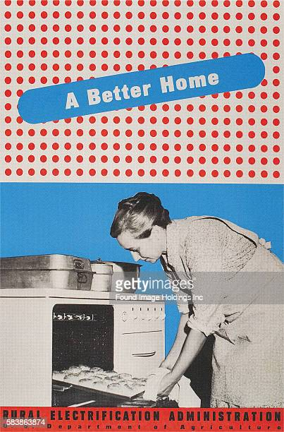 Vintage color photograph of a 'Rural Electrification Program' poster featuring a woman sliding baked rolls out of an oven, 1940s. Graphic colors...