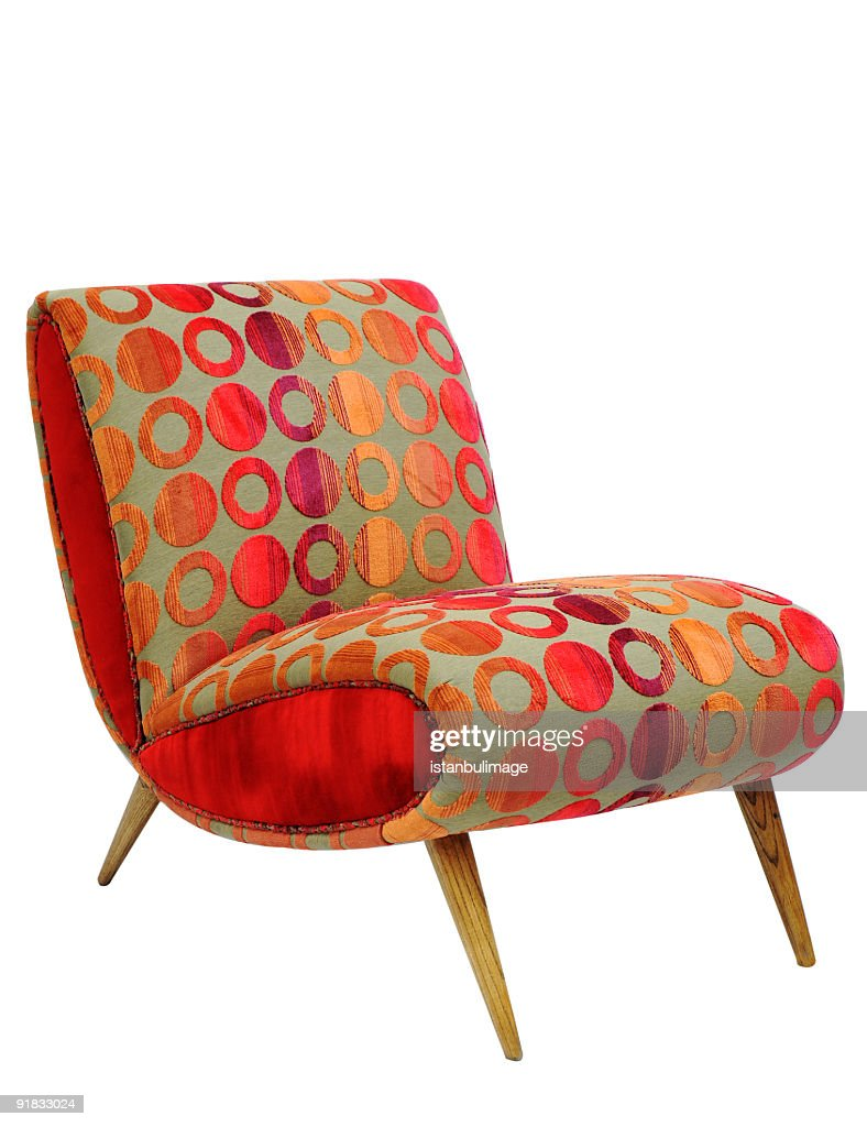 Marvelous Vintage Colorful Armchair Isolated On White : Stock Photo