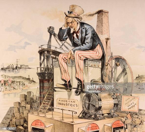 A vintage colour illusration or political cartoon of Uncle ...