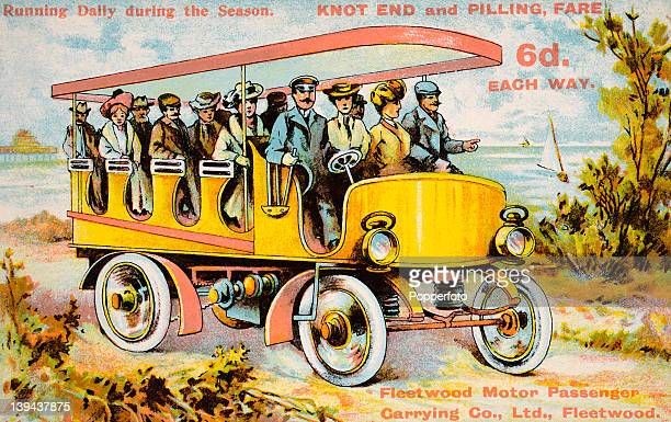 Vintage colour illustration advertising a charabanc running between Knot End and Pilling in Lancashire circa 1910