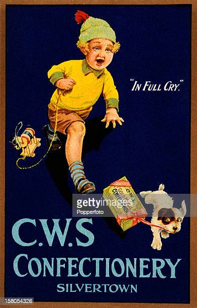 A vintage colour illustration advertising the Cooperative Wholesale Society Confectionery and featuring a small boy chasing after a puppy dragging a...