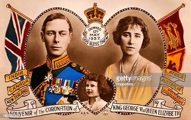 A vintage colour illustration celebrating the coronation of King George VI and Queen Elizabeth featuring the Princess Elizabeth and nations of the...