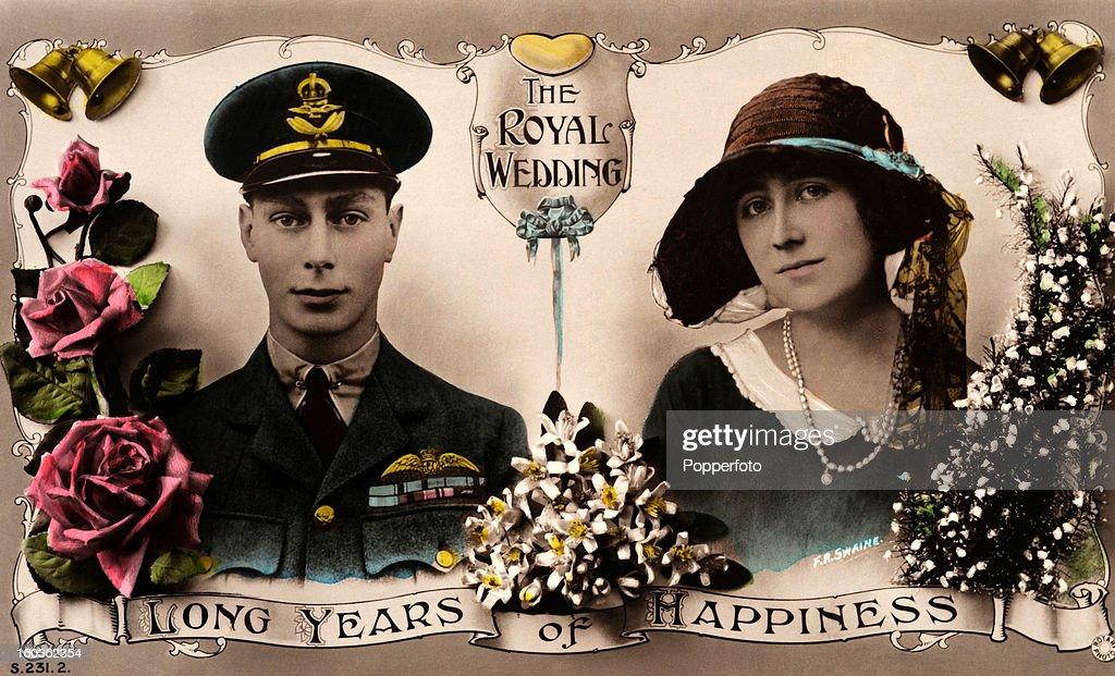Royal Wedding Souvenir - Albert, Duke Of York And Lady Elizabeth Bowes-Lyon : News Photo