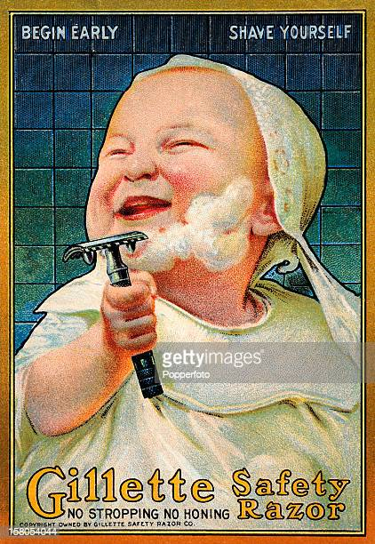A vintage colour illustration featuring a baby shaving and advertising the Gillette Safety Razor circa 1910