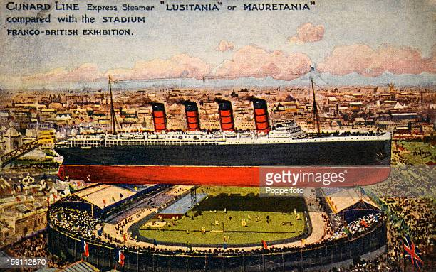 A vintage colour illustration featuring a size comparison between the White City Stadium built for the FrancoBritish Exhibition and used for the...