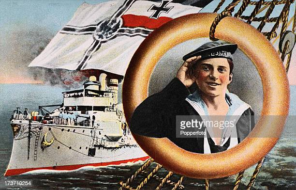 A vintage colour illustration featuring a young German Naval cadet and a German battleship during World War One circa 1915