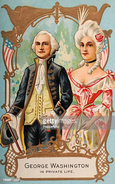A vintage colour illustration featuring George Washington and his wife Martha as part of the Washington Birthday postcard series printed circa 1900