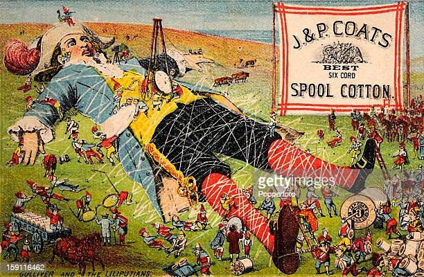 A vintage colour illustration featuring Jonathan Swift's Gulliver being tied down by the Liliputians and advertising J P Coats spool cotton published...