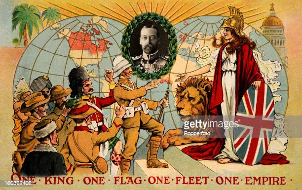 A vintage colour illustration featuring King George V and representatives of the British Empire paying homage to Britannia with her Union Jack shield...