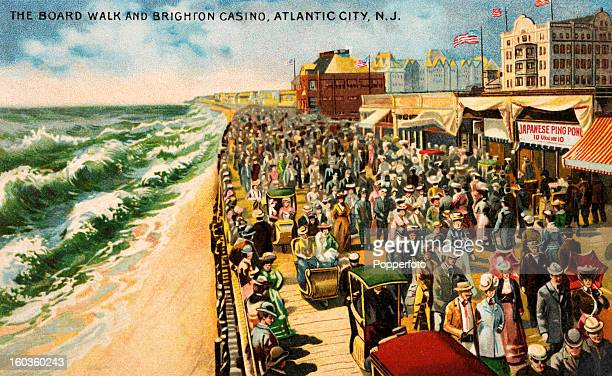 A vintage colour illustration featuring the Boardwalk Brighton Casino at Atlantic City New Jersey circa 1910