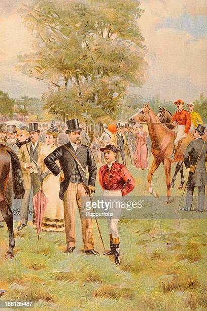 A vintage colour illustration featuring the Prince of Wales later King Edward VII with a jockey in the paddock at Epsom on Derby Day published in The...