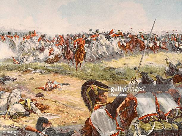 A vintage colour illustration of a general view of the Battle of Waterloo on 18 June 1815