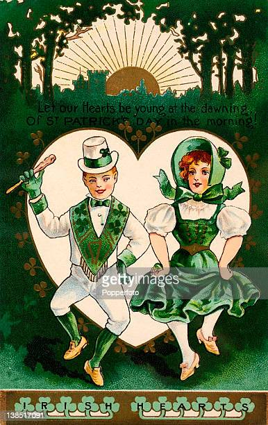 A vintage colour illustration of a St Patricks day celebration showing two young people in green leprechaun costumes dancing in a green forest...