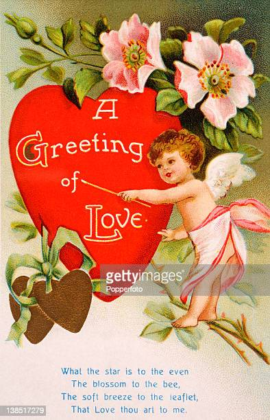 A vintage colour illustration of a Valentines greeting including a poem and showing a baby angel standing on a branch of pink roses a big red heart...