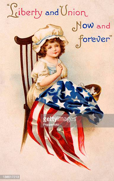 A vintage colour illustration of a young Betsy Ross the designer of the American flag wearing a pinafore and mobcap with her sewing basket...