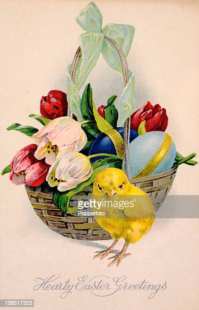A vintage colour illustration of an Easter greeting with a yellow chick and a basket of tulips and an Easter egg