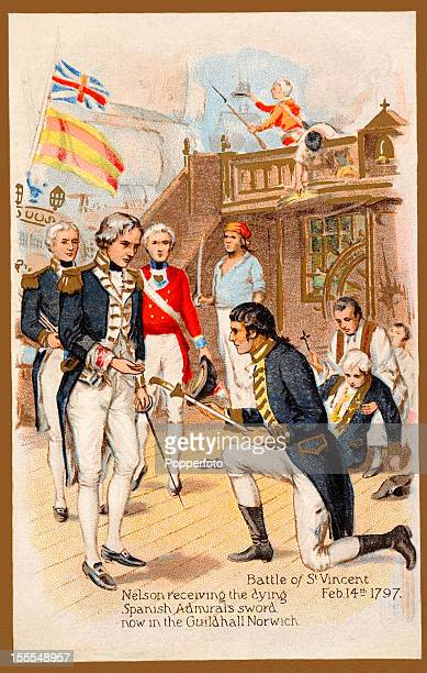 A vintage colour illustration of Commodore Horatio Nelson receiving the sword of the dying Spanish admiral following the Battle of St Vincent on 14th...