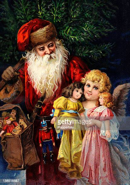 A vintage colour illustration of Father Christmas or Santa Claus bringing toys and dolls to a young angelic girl